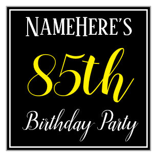 Simple 85th Birthday Party W Custom Name Napkin