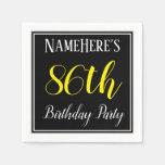 [ Thumbnail: Simple, 86th Birthday Party W/ Custom Name Napkin ]