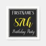 [ Thumbnail: Simple, 87th Birthday Party W/ Custom Name Paper Napkin ]
