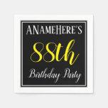 [ Thumbnail: Simple, 88th Birthday Party W/ Custom Name Paper Napkin ]