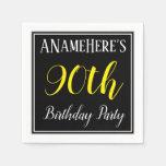 [ Thumbnail: Simple, 90th Birthday Party W/ Custom Name Paper Napkin ]