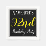[ Thumbnail: Simple, 92nd Birthday Party W/ Custom Name Paper Napkin ]