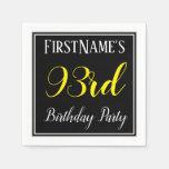[ Thumbnail: Simple, 93rd Birthday Party W/ Custom Name Napkin ]