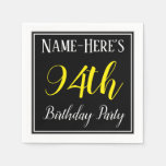 [ Thumbnail: Simple, 94th Birthday Party W/ Custom Name Paper Napkin ]