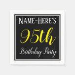 [ Thumbnail: Simple, 95th Birthday Party W/ Custom Name Paper Napkin ]