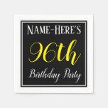 [ Thumbnail: Simple, 96th Birthday Party W/ Custom Name Napkin ]