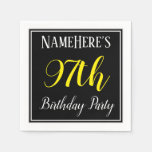 [ Thumbnail: Simple, 97th Birthday Party W/ Custom Name Paper Napkin ]