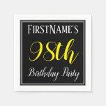 [ Thumbnail: Simple, 98th Birthday Party W/ Custom Name Paper Napkin ]