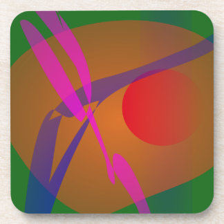 Simple Abstract Composition Green Coasters