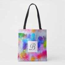 Simple Abstract Watercolor Monogram Tote Bag