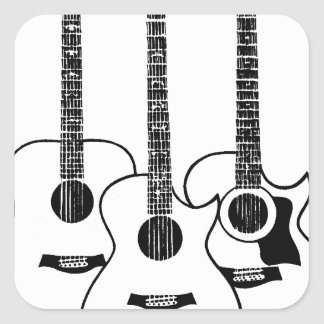 simple acoustic guitars square sticker