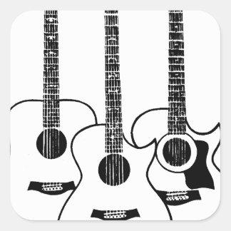 simple acoustic guitars square sticker