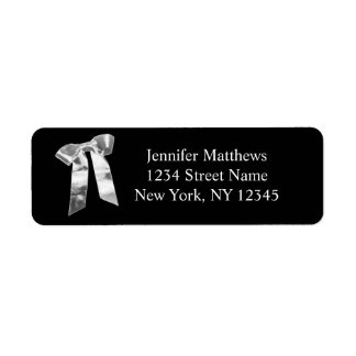 Simple Address Labels Silver Bow for Weddings
