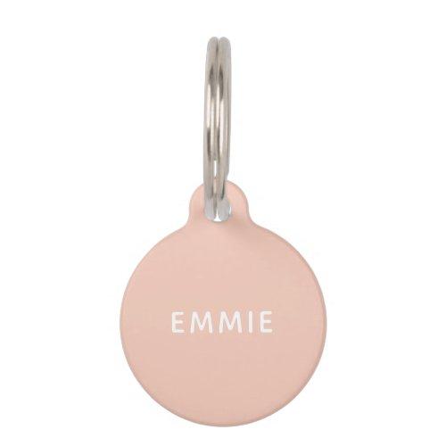 Simple all blush pink minimalist custom name dog pet ID tag