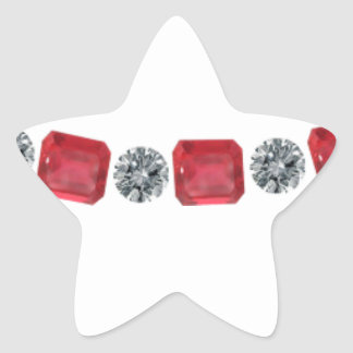 Simple Alternating Ruby and Round Diamond Star Sticker