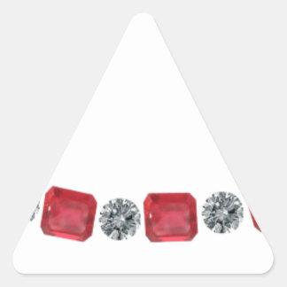 Simple Alternating Ruby and Round Diamond Triangle Sticker