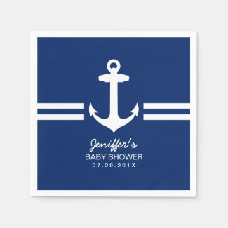 Simple Anchor Nautical Stripes Baby Shower Standard Cocktail Napkin