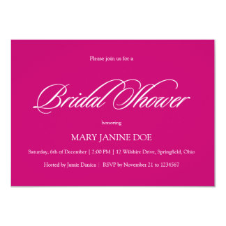 "Simple and Affordable Bridal Showel Fuchsia 4.5"" X 6.25"" Invitation Card"