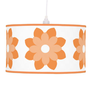 Simple And Bright Orange Flower Hanging Pendant Lamp