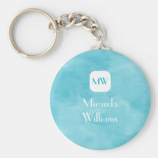 Simple and Chic Aqua Turquoise Monogram With Name Keychains