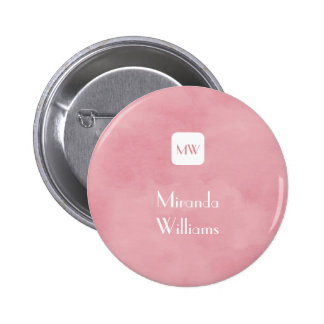 Simple and Chic Blush Pink Monogram With Name Pinback Buttons