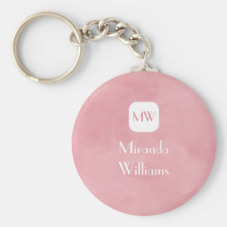 Simple and Chic Blush Pink Monogram With Name Key Chain