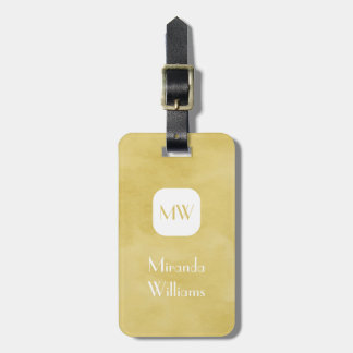 Simple and Chic Goldenrod Yellow Monogram and Name Bag Tag
