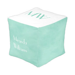 Simple and Chic Mint Green Monogram With Name Pouf