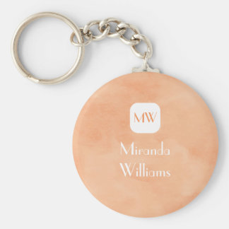 Simple and Chic Peach Orange Monogram With Name Key Chain