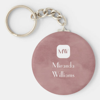 Simple and Chic Rosy Brown Monogram With Name Keychains