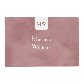 Simple and Chic Rosy Brown Monogram With Name Laminated Placemat