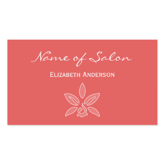 Simple and Chic Salon in Cayenne Red Coral Floral Double-Sided Standard Business Cards (Pack Of 100)