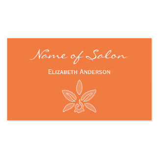 Simple and Chic Salon in Celosia Orange Floral Double-Sided Standard Business Cards (Pack Of 100)