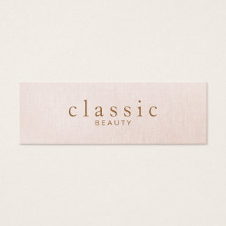 Simple and Classic Beauty Pink Linen Look Mini Business Card