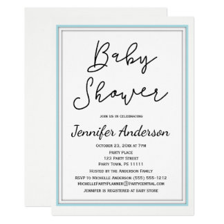 Simple and Clean Blue White Black Baby Shower Card