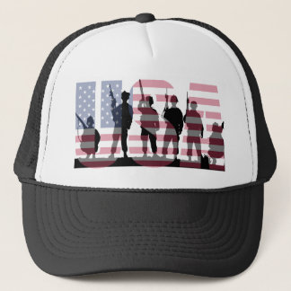 Simple and Colorful US American Flag with Soldiers Trucker Hat