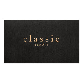 Simple and Elegant Beauty Black Linen Look Double-Sided Standard Business Cards (Pack Of 100)