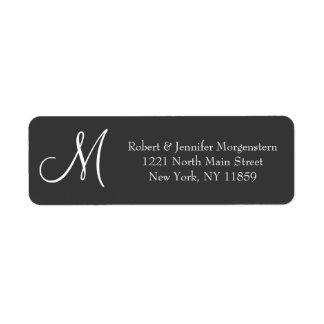Simple and Elegant, Black & White Monogram Address Return Address Label