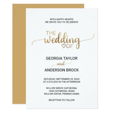 Valentines Themed Simple and Elegant Gold Calligraphy Wedding Card