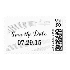 Simple And Elegant Music Notes Save The Date Postage at Zazzle