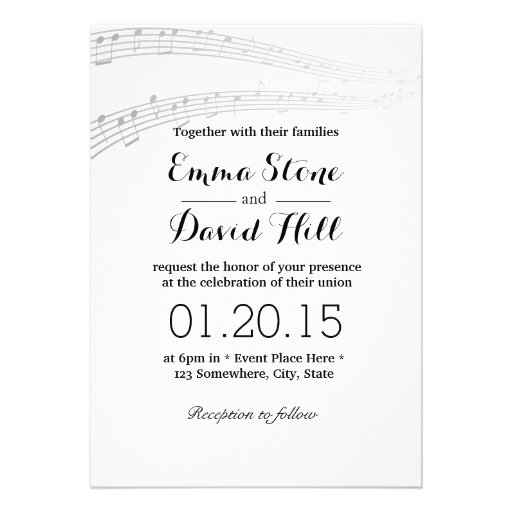 Simple and Elegant Music Notes Wedding Invitations