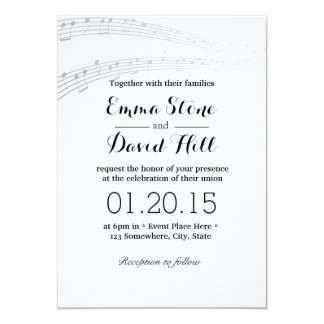 Simple and Elegant Music Notes Wedding Invitations