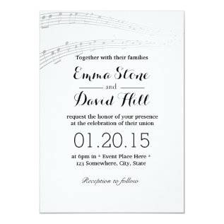 Simple And Elegant Music Notes Wedding Invitations at Zazzle