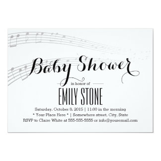 simple and elegant musical baby shower card
