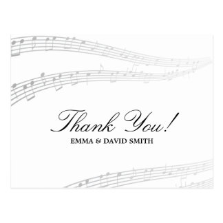 Simple and Elegant Musical Thank You Cards Postcard
