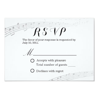 Simple and Elegant Musical Wedding RSVP 3.5x5 Paper Invitation Card