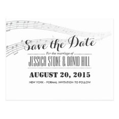Simple And Elegant Musical Wedding Save The Date Postcard at Zazzle