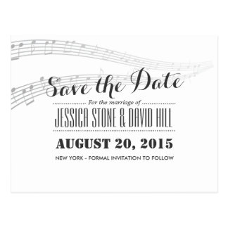 Simple and Elegant Musical Wedding Save the Date Postcards