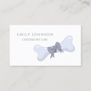 Simple bow business cards zazzle simple and elegant pet care gray bone and bow business card colourmoves