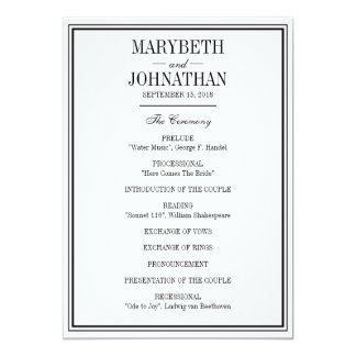 Simple and Elegant Wedding Ceremony Program Card